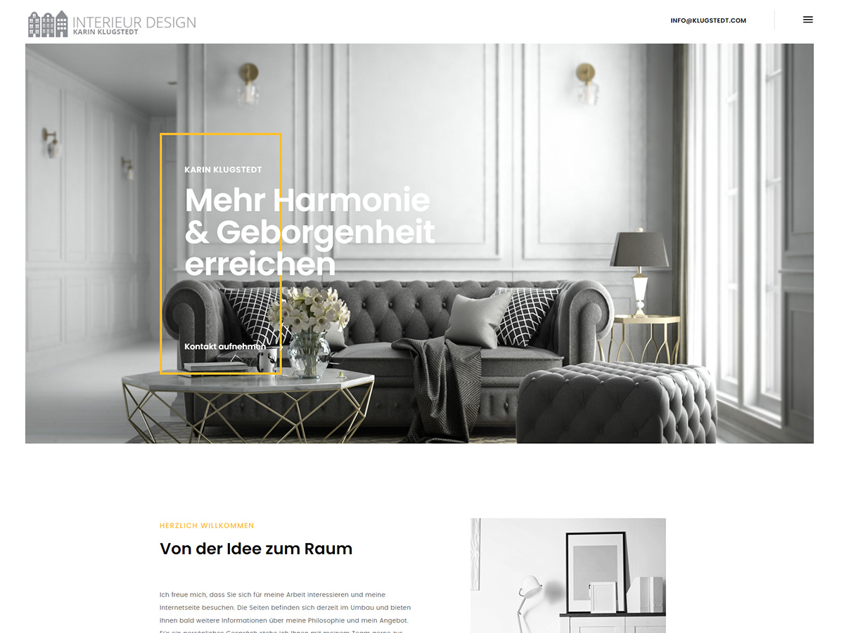 Webseite für Klugstedt Interior Design